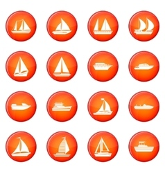 Boat icons set vector