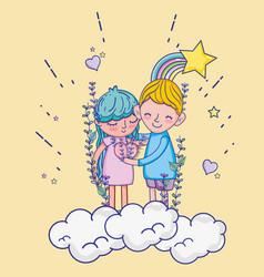 Boy and girl in love cartoons vector
