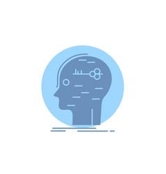 Brain hack hacking key mind glyph icon vector