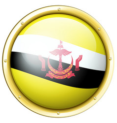 Brunei flag on round badge vector
