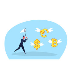 businessman holding butterfly net catch dollar vector image