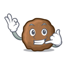 Call me meatball mascot cartoon style vector