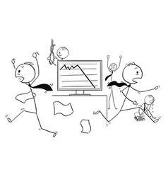 Cartoon of businessmen in panic is running out vector