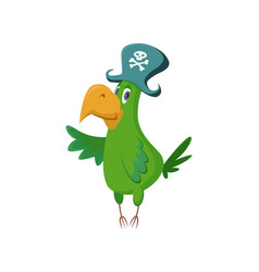 cartoon pirate parrot vector image