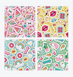 cartoon seamless pattern girlish accessories vector image