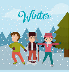 children with winter clothes and cold weather vector image