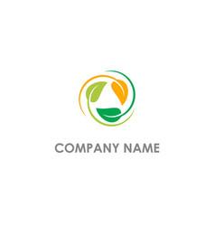 circle leaf organic colored logo vector image