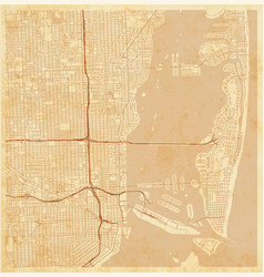 city map miami on a vintage grunge paper vector image