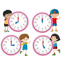 clock with children character vector image