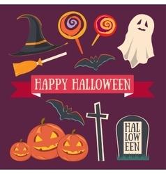 Colorful Happy halloween set vector image