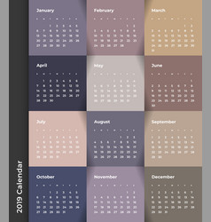 Colorful year 2019 calendar template vector