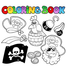 coloring book with pirate topic 4 vector image