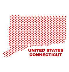 connecticut state map - mosaic of lovely hearts vector image