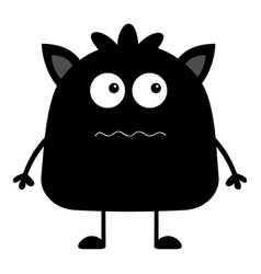 cute black silhouette monster icon happy vector image