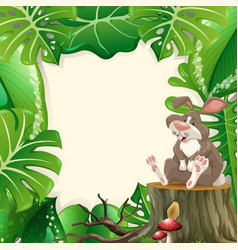 cute bunny forest frame vector image