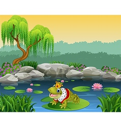 Cute king frog sitting on the lily water vector image