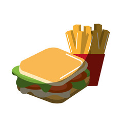 Delicious sandwich with tasty fries french vector