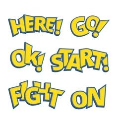 Different phrases written like as Pokemon logo vector