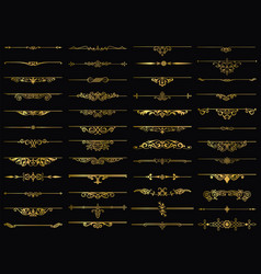 Dividers design gold element vintage set vector