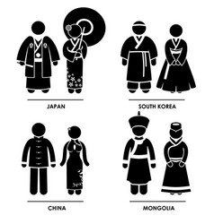 east asia - japan south korea china mongolia man vector image