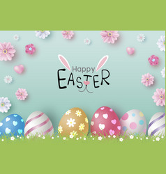 easter day design of eggs and flowers vector image