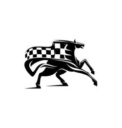 equestrian sport mascot mustang checkered flag vector image