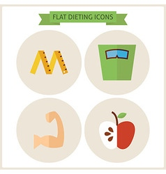 Flat Fitness Dieting Website Icons Set vector