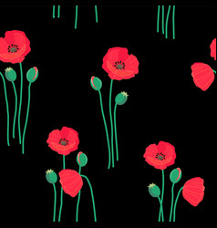 floral seamless pattern with red poppy flowers vector image