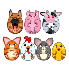 Funny animals rounded like eggs vector image