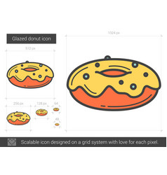 Glazed donut line icon vector