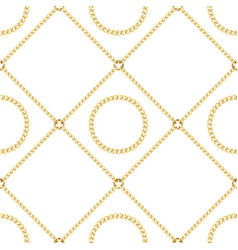 golden chains seamless pattern on white background vector image
