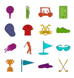 Golf items icons doodle set vector