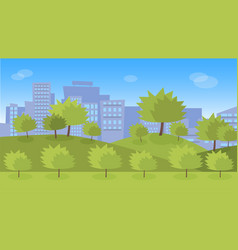 green city park with lawns and trees vector image