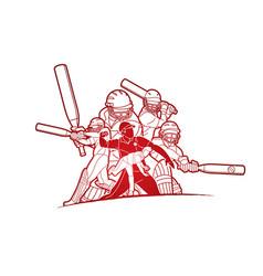 Group cricket players action cartoon sport vector