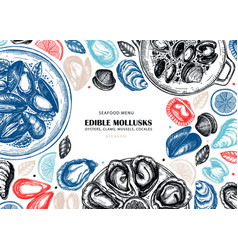 Hand drawn edible marine mollusks with herbs vector