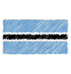 hand drawn national flag of botswana isolated on a vector image