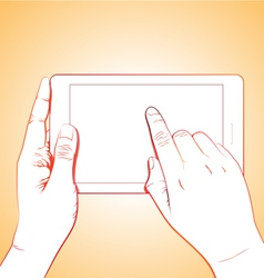 Hand Touching Tablet vector image