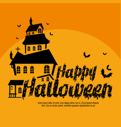 happy halloween card with enchanted castle vector image