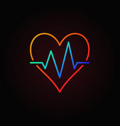 heart beat colored icon heartbeat outline vector image