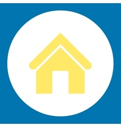 Home flat yellow and white colors round button vector image