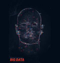 Human big data visualization futuristic ai vector