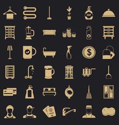 Inn icons set simple style vector