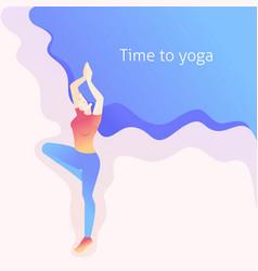 isometric young woman doing yoga pose asana vector image