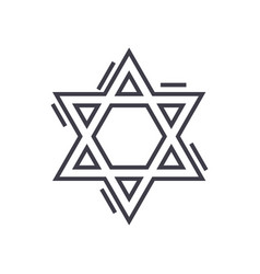 jewish david star line icon sign vector image