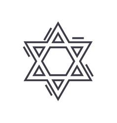 Jewish david star line icon sign vector