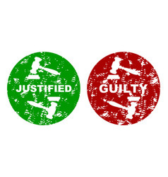 judicial press rubber stamp guilty and justified vector image