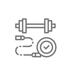 jump rope with dumbbell sport charging line icon vector image