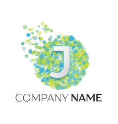 Letter j logo blue green yellow particles vector