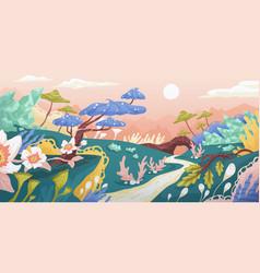 magic landscape fantasy world with imaginary vector image