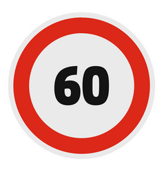 maximum speed limit icon flat style vector image